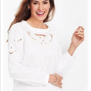 Talbots embroidered cutout poplin top